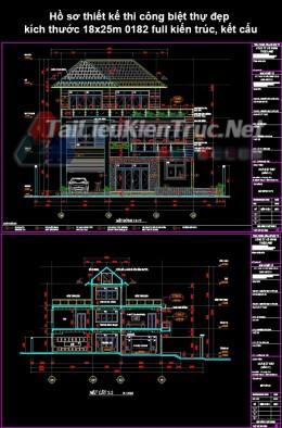 Hồ sơ thiết kế thi công biệt thự đẹp kích thước 18x25m 0182 full kiến trúc, kết cấu