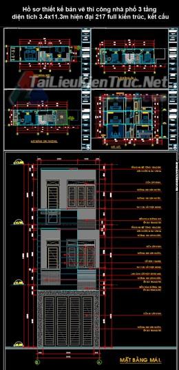 Hồ sơ thiết kế bản vẽ thi công nhà phố 3 tầng  diện tích 3.4x11.3m hiện đại 217 full kiến trúc, kết cấu