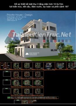 Hồ sơ thiết kế biệt thự 3 tầng diện tích 10.5x13m full kiến trúc, kết cấu, điện nước, dự toán và phối cảnh 187