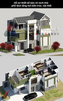 Hồ sơ thiết kế bản vẽ Revit nhà phố lệch full kiến trúc nội thất