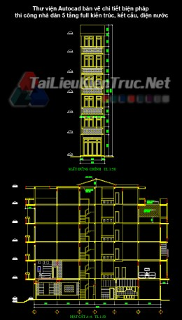 Thư viện Autocad bản vẽ chi tiết biện pháp thi công nhà dân 5 tầng full kiến trúc, kết cấu, điện nước