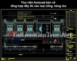 Thư viện Autocad bản vẽ tổng hợp đầy đủ các loại cổng, hàng rào