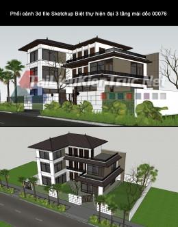 Phối cảnh 3d file Sketchup Biệt thự hiện đại 3 tầng mái dốc 00076