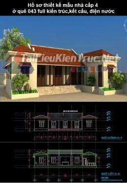 Hồ sơ thiết kế mẫu nhà cấp 4 ở quê 043 full kiến trúc, kết cấu, điện nuớc