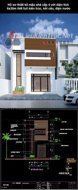 Hồ sơ thiết kế mẫu nhà cấp 4 với diện tích 6x20m 046 full kiến trúc, kết cấu, điện nước