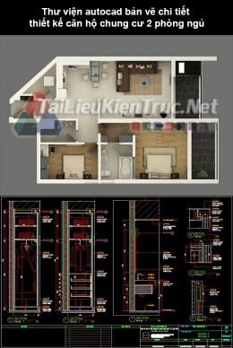 Thư viện autocad bản vẽ chi tiết thiết kế căn hộ chung cư 2 phòng ngủ