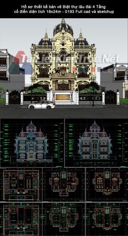 Hồ sơ thiết kế bản vẽ Biệt thự lâu đài 4 Tầng cổ điển diện tích 18x24m - 0193 Full cad và sketchup