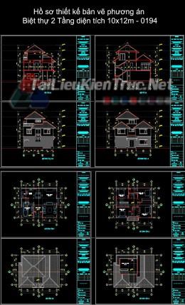 Hồ sơ thiết kế bản vẽ phương án Biệt thự 2 Tầng diện tích 10x12m - 0194