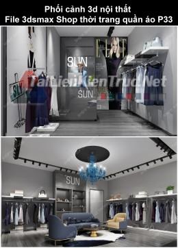 Phối cảnh 3d nội thất File 3dmax Shop thời trang quần áo p33