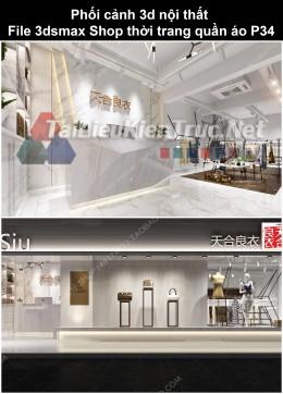 Phối cảnh 3d nội thất File 3dmax Shop thời trang quần áo p34
