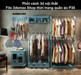 Phối cảnh 3d nội thất File 3dmax Shop thời trang quần áo p35