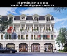 Hồ sơ thiết kế bản vẽ thi công nhà liền kề phố 4 tầng diện tích 5x15m 234