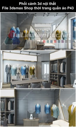 Phối cảnh 3d nội thất File 3dmax Shop thời trang quần áo p43