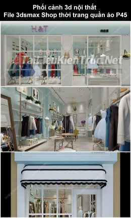 Phối cảnh 3d nội thất File 3dmax Shop thời trang quần áo p45
