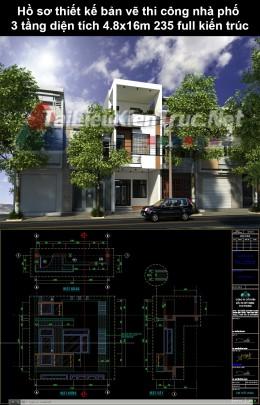 Hồ sơ thiết kế bản vẽ thi công nhà phố 3 tầng diện tích 4.8x16m 235 ful kiến trúc