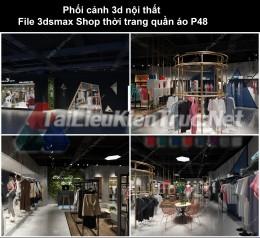 Phối cảnh 3d nội thất File 3dmax Shop thời trang quần áo p48