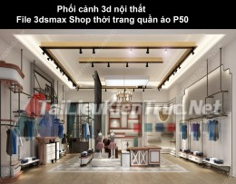 Phối cảnh 3d nội thất File 3dmax Shop thời trang quần áo p50