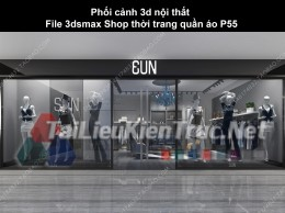 Phối cảnh 3d nội thất File 3dmax Shop thời trang quần áo p55