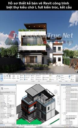 Hồ sơ thiết kế bản vẽ Revit công trình biệt thự kiểu chữ L full kiến trúc, kết cấu