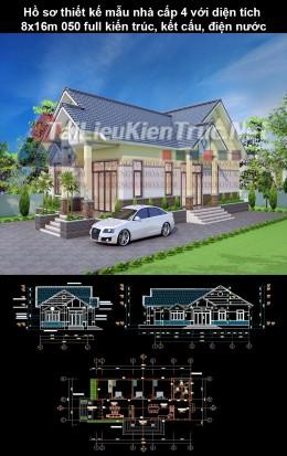 Hồ sơ thiết kế mẫu nhà cấp 4 với diện tích 8x16m 050 full kiến trúc, kết cấu, điện nước