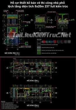 Hồ sơ thiết kế bản vẽ thi công nhà phố lệch tầng diện tích 5x20m 237 ful kiến trúc