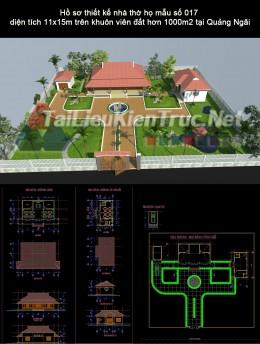 Hồ sơ thiết kế nhà thờ họ mẫu số 018 diện tích 11x15m trên khuôn viên đất hơn 1000m2 tại Quảng Ngãi