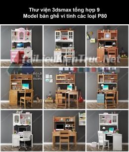 Thư viện 3dsmax tổng hợp 9 Model bàn ghế vi tính các loại P80