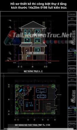 Hồ sơ thiết kế thi công biệt thự 4 tầng kích thước 14x20m 0198  full kiến trúc