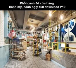Phối cảnh 3d cửa hàng bánh mỳ, bánh ngọt full download P10