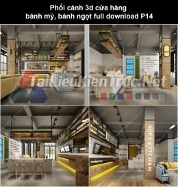 Phối cảnh 3d cửa hàng bánh mỳ, bánh ngọt full download P14