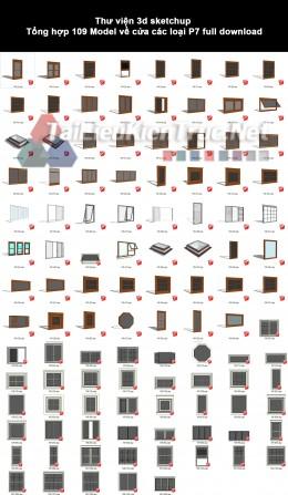 Thư viện 3d sketchup Tổng hợp 109 Model về cửa các loại P7 full download