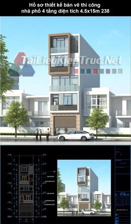 Hồ sơ thiết kế bản vẽ thi công nhà phố 4 tầng diện tích 4.5x15m 238
