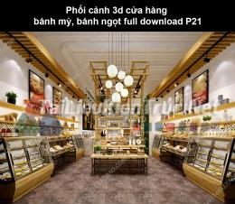 Phối cảnh 3d cửa hàng bánh mỳ, bánh ngọt full download P21