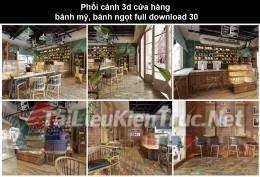 Phối cảnh 3d cửa hàng bánh mỳ, bánh ngọt full download P30