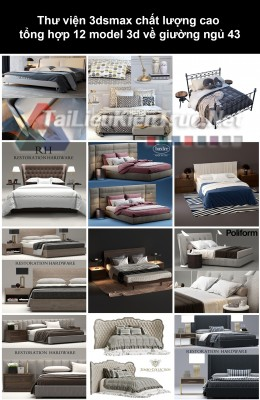 Thư viện 3dsmax chất lượng cao tổng hợp 12 Model 3d về Giường ngủ 43