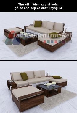 Thư viện 3dsmax ghế sofa gỗ óc chó đẹp và chất lượng 04