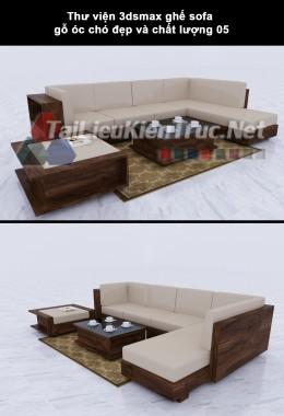 Thư viện 3dsmax ghế sofa gỗ óc chó đẹp và chất lượng 05