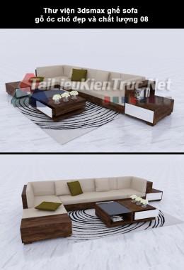 Thư viện 3dsmax ghế sofa gỗ óc chó đẹp và chất lượng 08