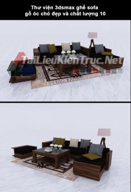 Thư viện 3dsmax ghế sofa gỗ óc chó đẹp và chất lượng 10
