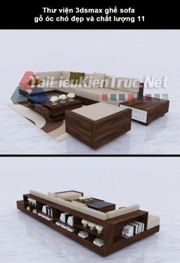 Thư viện 3dsmax ghế sofa gỗ óc chó đẹp và chất lượng 11