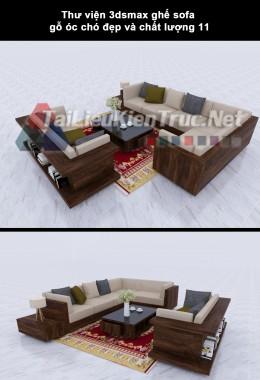 Thư viện 3dsmax ghế sofa gỗ óc chó đẹp và chất lượng 12