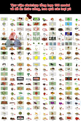 Thư viện sketchup tổng hợp 100 model về đồ ăn thức uống, hoa quả các loại p2