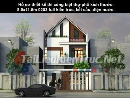 Hồ sơ thiết kế thi công biệt thự phố kích thước 8.5x11.5m 0203 full kiến trúc, kết cấu, điện nước