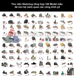 Thư viện Sketchup tổng hợp 100 Model mẫu đá non bộ cảnh quan các công trình p3
