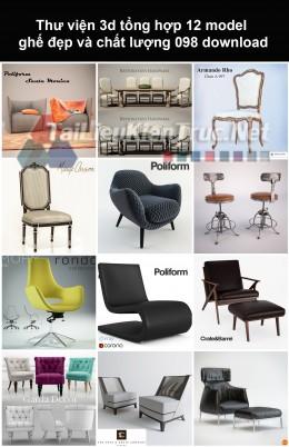 Thư viện 3d Tổng hợp 12 model ghế đẹp và chất lượng 098 download