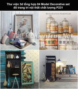 Thư viện 3d tổng hợp 04 Model Decorative set đồ trang trí nội thất chất lượng P231