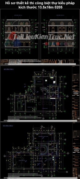 Hồ sơ thiết kế thi công biệt thự kiểu pháp kích thước 13.5x16m 0205