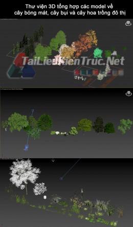 Thư viện 3D tổng hợp các model về cây bóng mát, cây bụi và cây hoa trồng đô thị