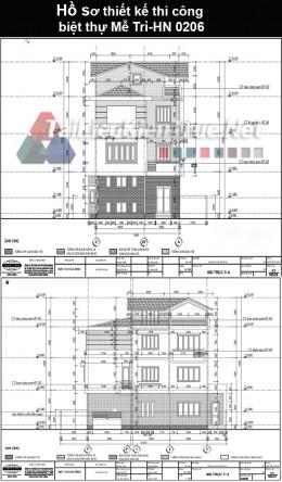 Hồ sơ thiết kế thi công biệt thự Mễ Trì- HN 0206