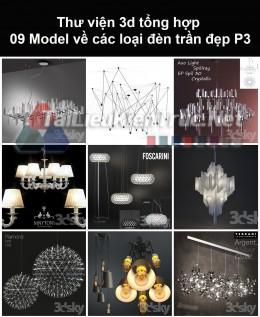 Thư viện 3d tổng hợp 09 model về các loại đèn trần đẹp P3